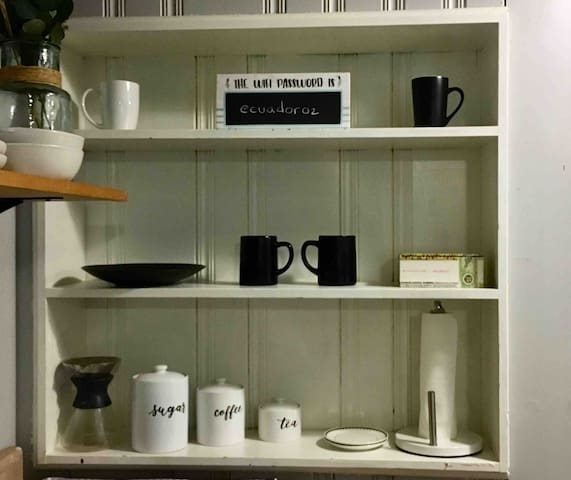 Coffee, and various teas for you to relax.