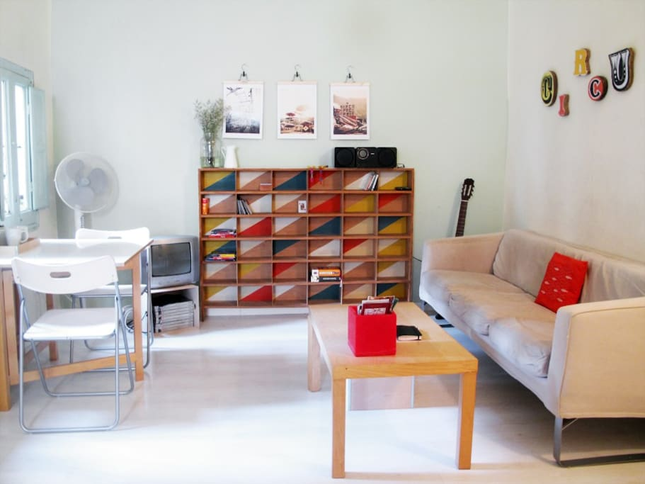 The colourful living area