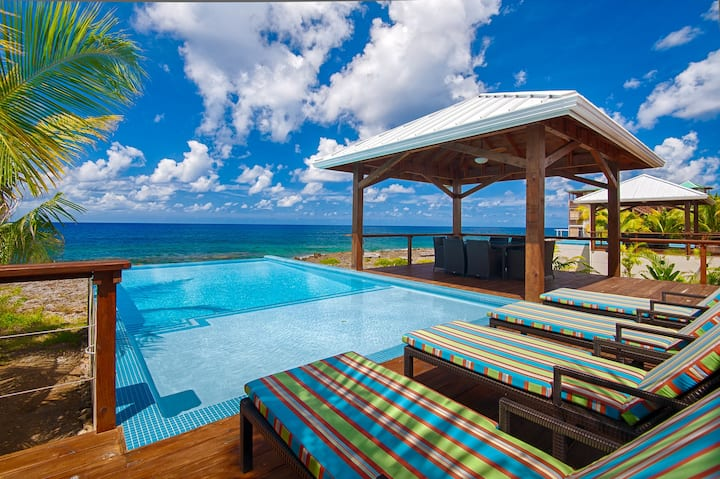 WEST END'S PREMIER VILLA DIRECTLY ON THE WATER - PRIVATE INFINITY POOL - SUNSET