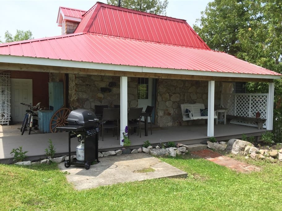 The large porch on the front of the house with BBQ provided is a great place to play and enjoy dinners in the summer.