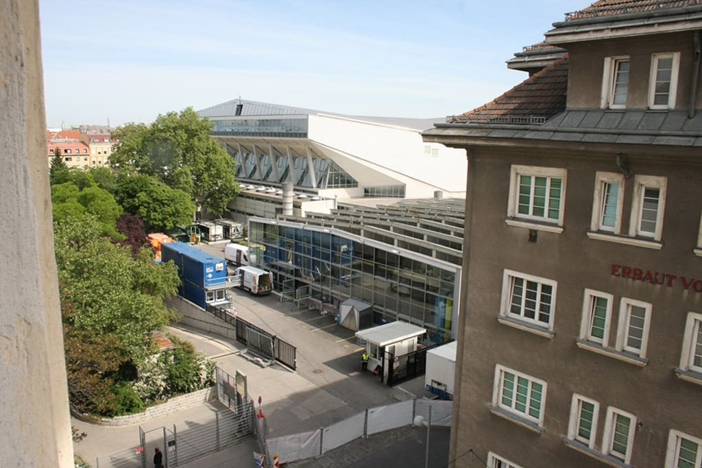 View from the room to the Vienna Stadthalle
