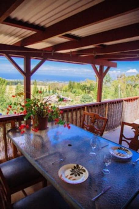Enjoy your breakfast on the partially covered deck while you check the surf..
