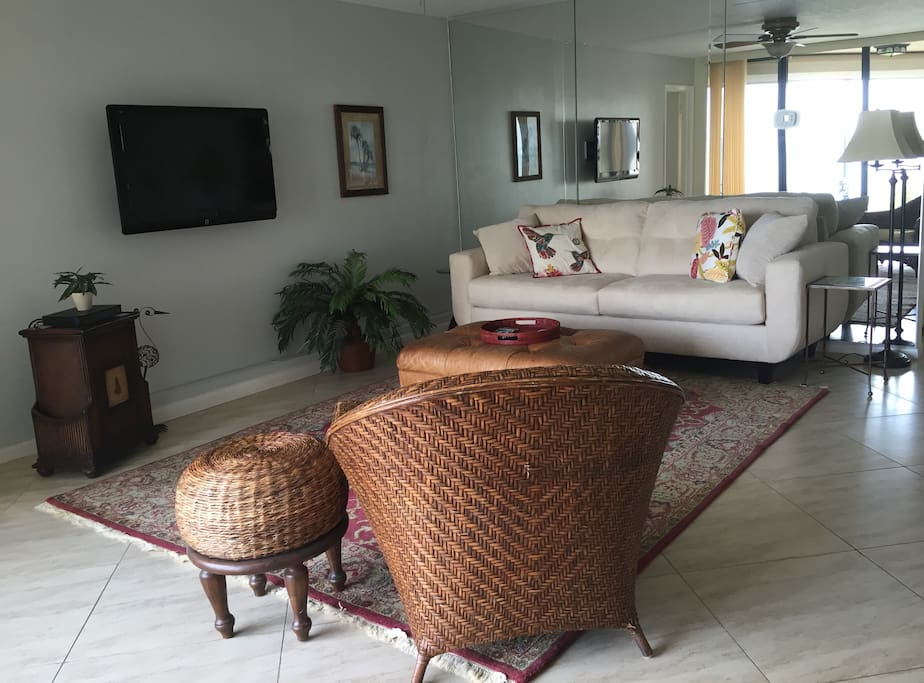Cozy and comfortable furnishings and big screen TV.