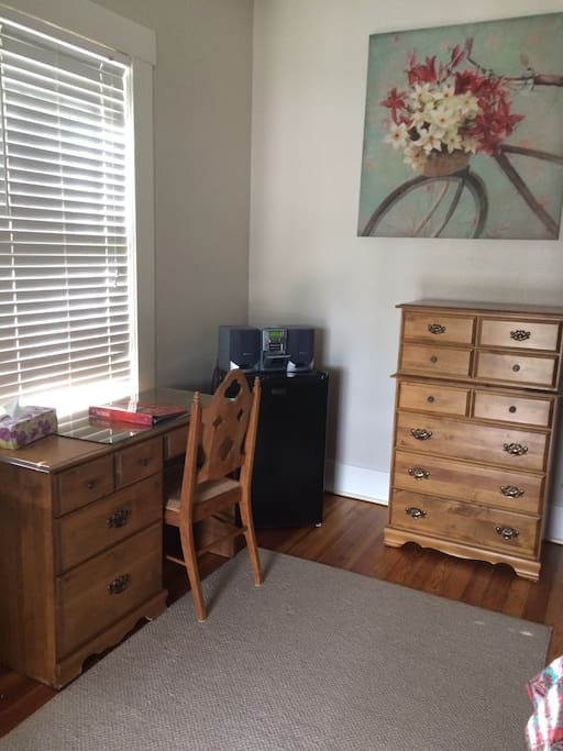 Radio, chest of drawers, closet space, desk and very ample room.