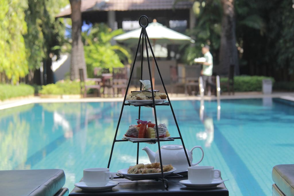 Poolside with coffee break view