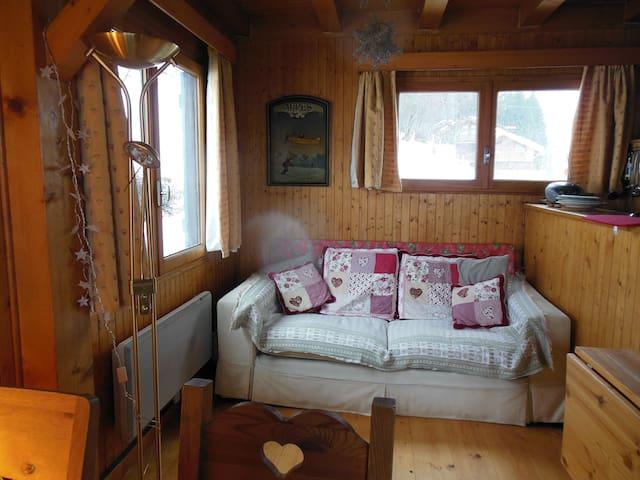 Lounge area.  Double sofa bed.