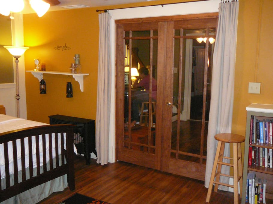 French doors close the room off from the rest of our home