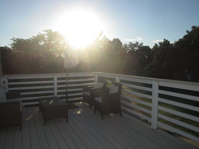 patio furniture on private deck Tree Top Cottage Retreat