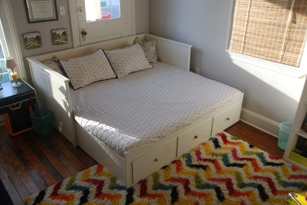 The day bed pulls out to a very comfortable king size.