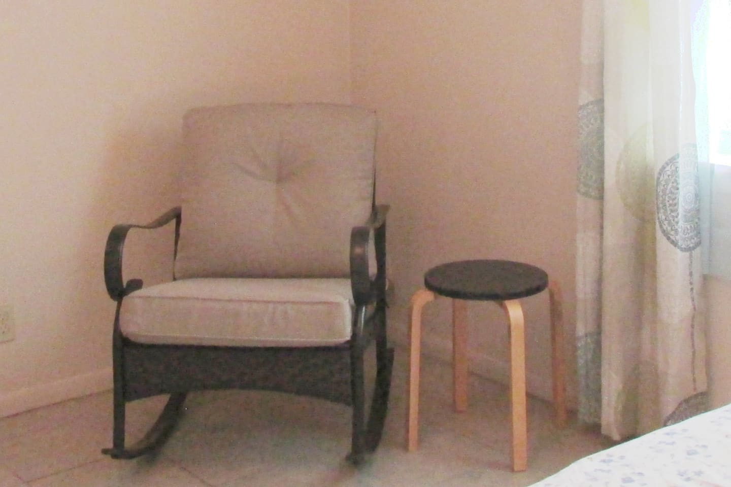 bedroom 1. rocking chair - small table