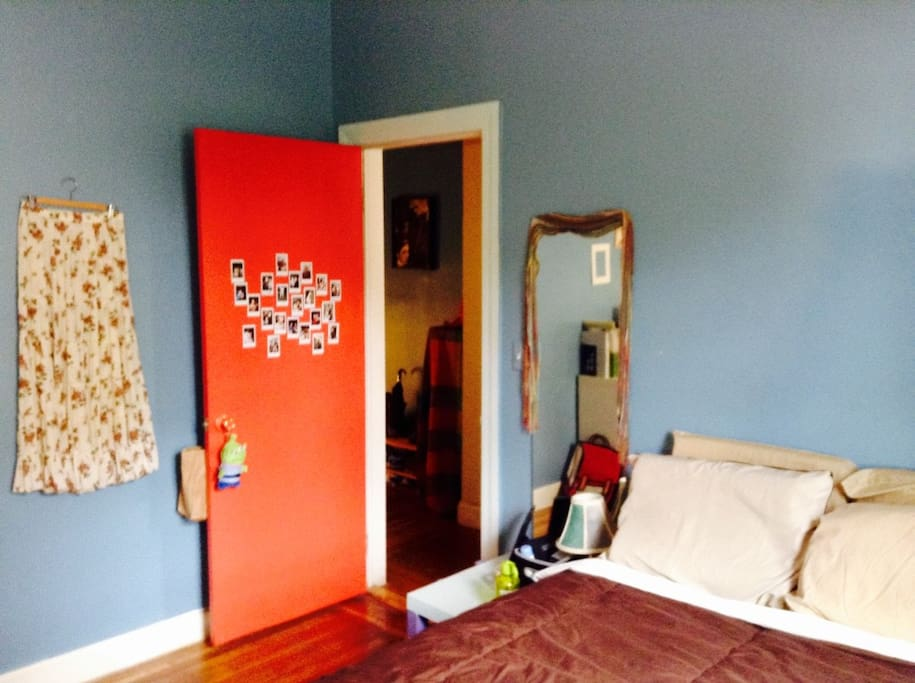 Painted red door and blue walls.It simply makes me happier.