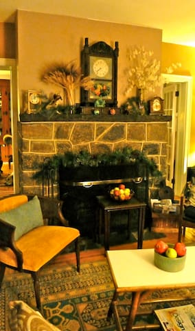 """Downstairs sitting room (""""Green Room"""") with fireplace & TV."""
