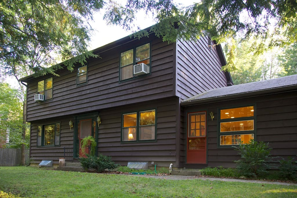 This is another front view of our cozy 4-bedroom house in Shelburne, VT