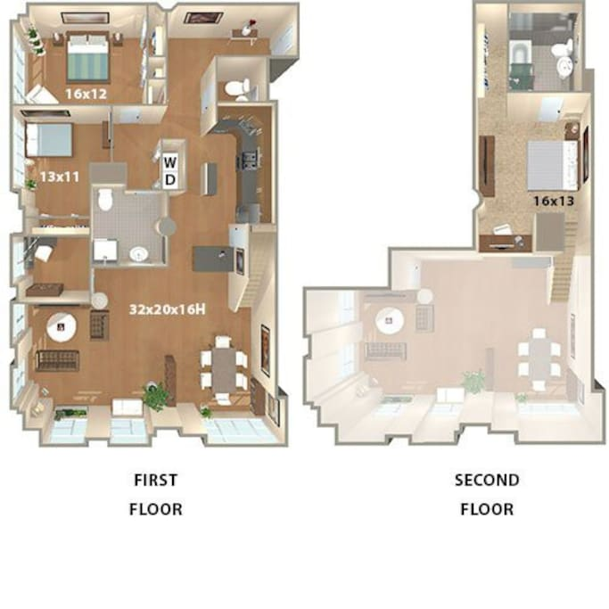 Building floorplan to understand the layout -- furniture differs from shown