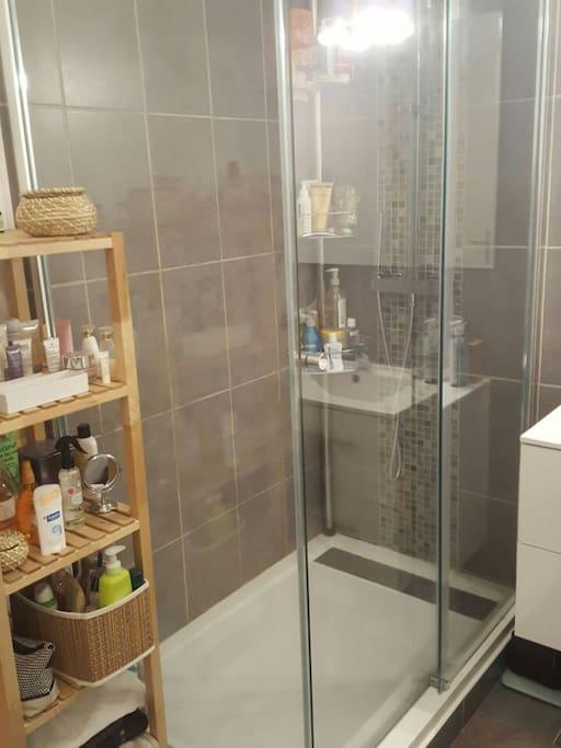 Salle de douche avec machine à laver et sèche serviette chauffant