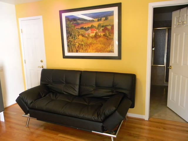 Convertible sofa couch/bed has retractable side arm rests and has many other features.