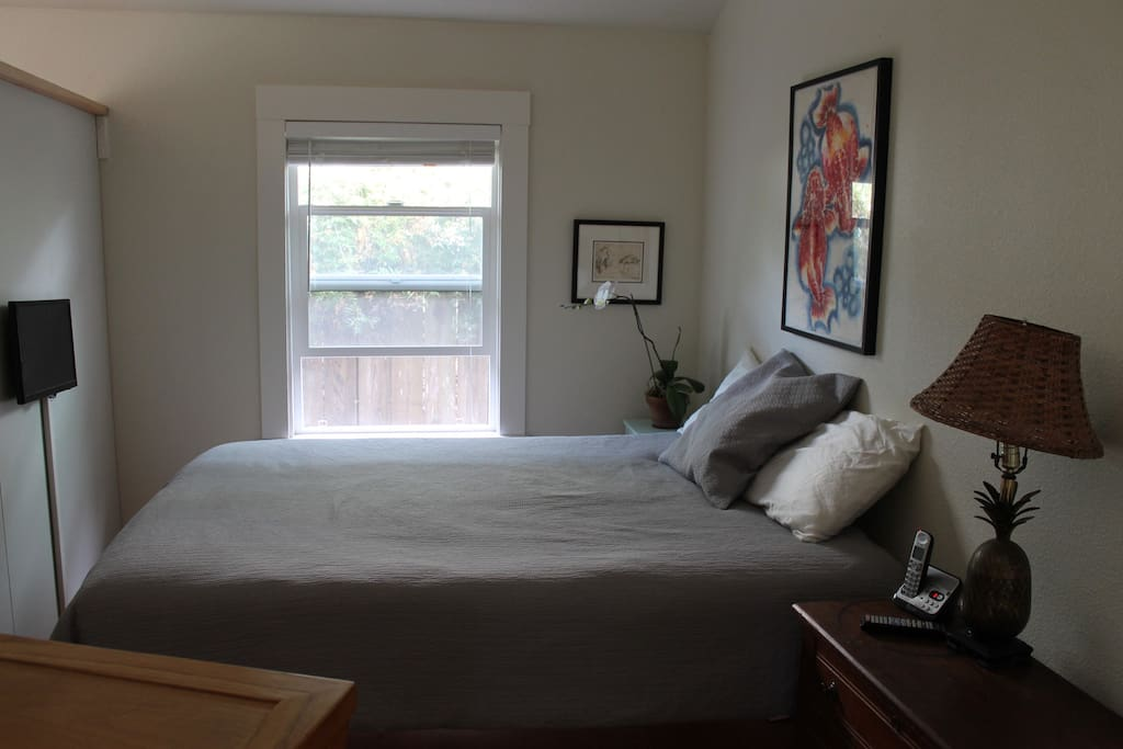 Queen bed separated by partition from living room