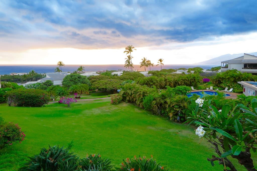 Wake up to this amazing lanai view, 10 minute walk to the best beaches in the world, across the street from the Four Seasons, Grand Wailea, and Marriott Resort and Spa.