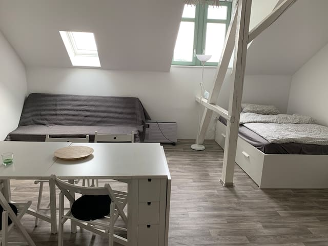 Renovated attic room at the campus