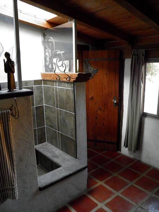 Bathroom with shower no tub