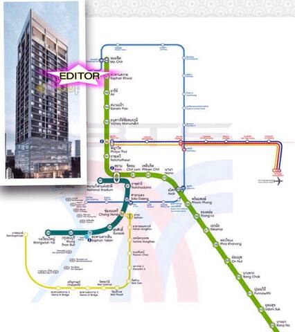 1 meter to skytrain ( BTS saphankuy station) central to anywhere very easy.
