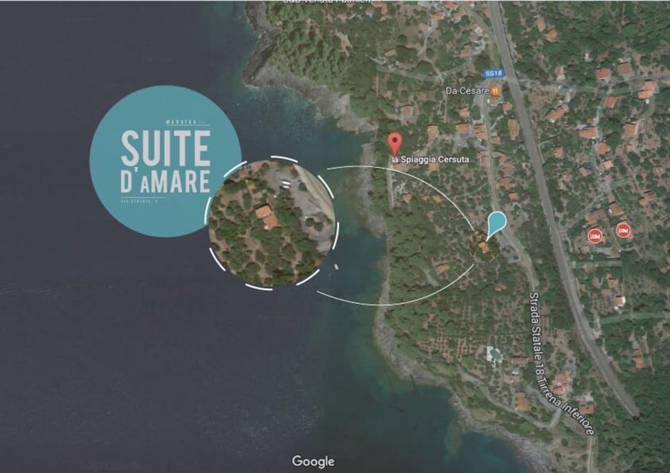 """Questa è la posizione della casa, nei pressi del ristorante """"da Cesare"""" e come si può ben vedere è davvero molto vicina al mare (5 min a piedi)"""