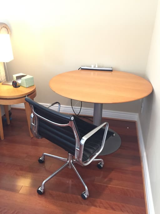 Study/ Dining desk in room.