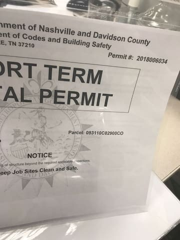 Permitted and legal - we have never cancelled a reservation! Nashville Tip: Don't rent a property without a permit number in their listing- unpermitted rentals do get shut down in Nashville, on a regular basis!