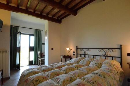 Camera doppia con piscina e vista su San Gimignano - Montauto - Bed & Breakfast