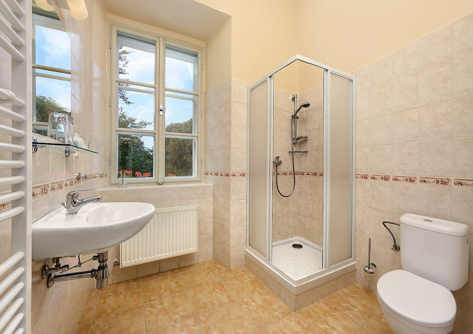 The baths are quite spacious in the deluxe rooms, smaller ones are found in our standard rooms.
