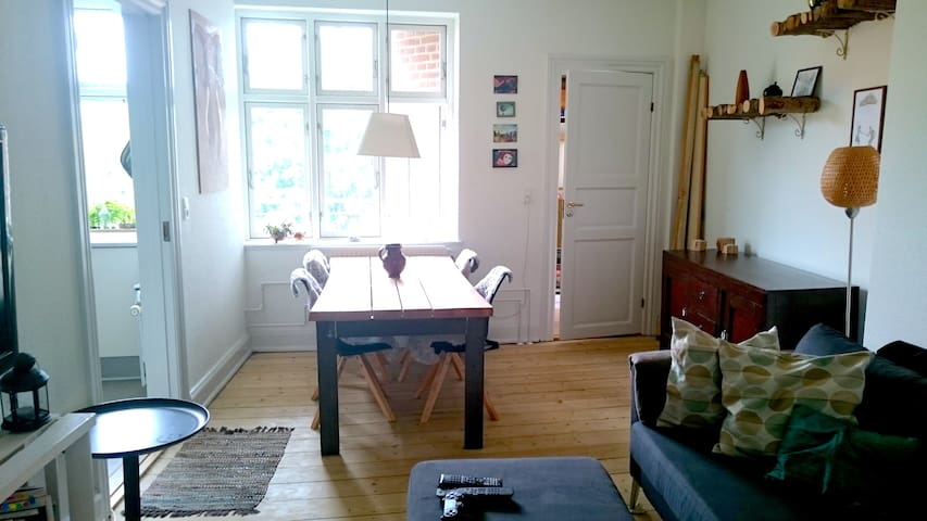Living room, with home made dining table.
