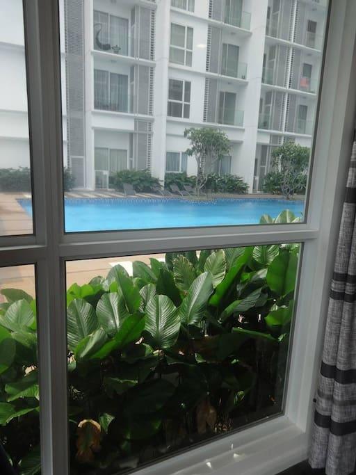 Bedroom looks onto the pool area