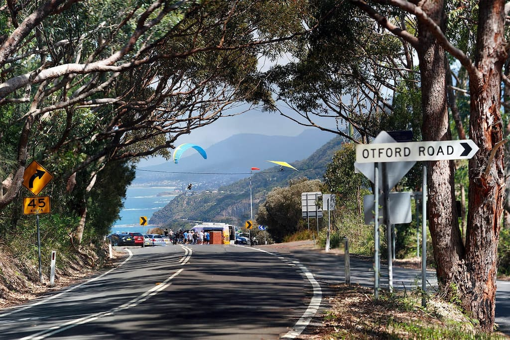 The view from the top of our driveway. Sea Cliff bridge in the distance and Stanwell Park beach 5 minutes drive away.