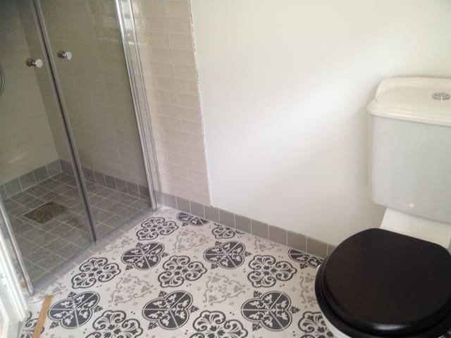 New bathroom 2015 on 2nd floor! Heated floor, shower