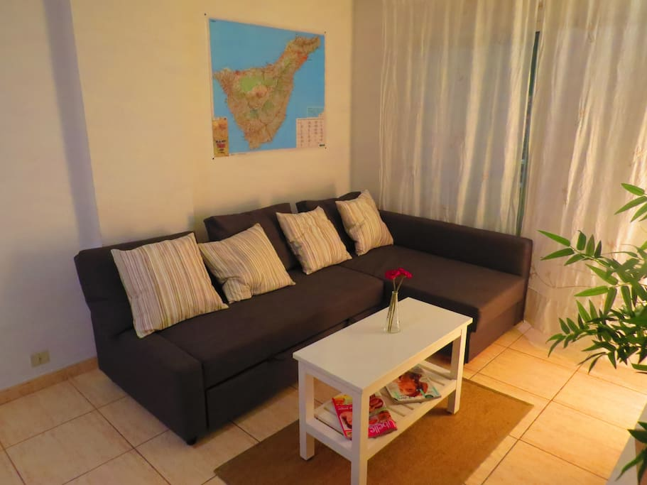 Fold-out couch and handy road map of Tenerife
