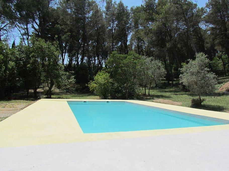 la piscine (partagée entre les 3 gîtes)