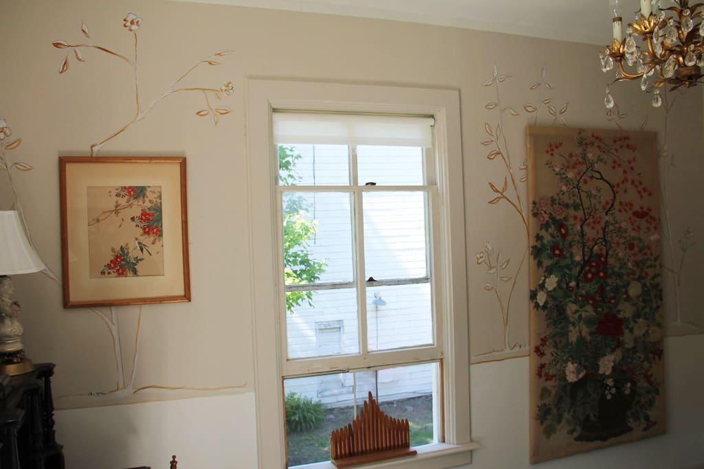 Hand-painted wall murals.