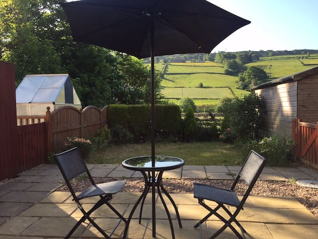 Holiday home with garden and parking.