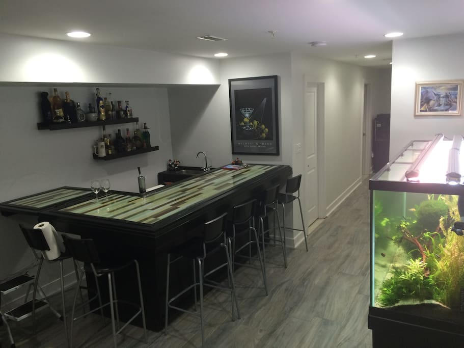 Full Bar with kegerator and sink