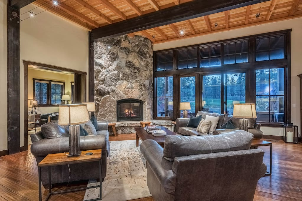 Sit back on the leather furniture in the stylish great room and enjoy a roaring fire in the gas fireplace.
