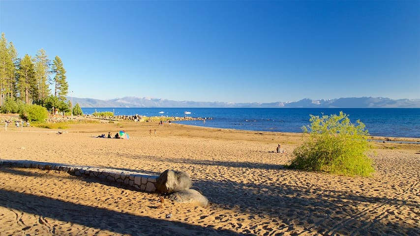 Kings Beach State Park is one of the best white sand beaches in Tahoe, with boat launch, playground, water toy rentals