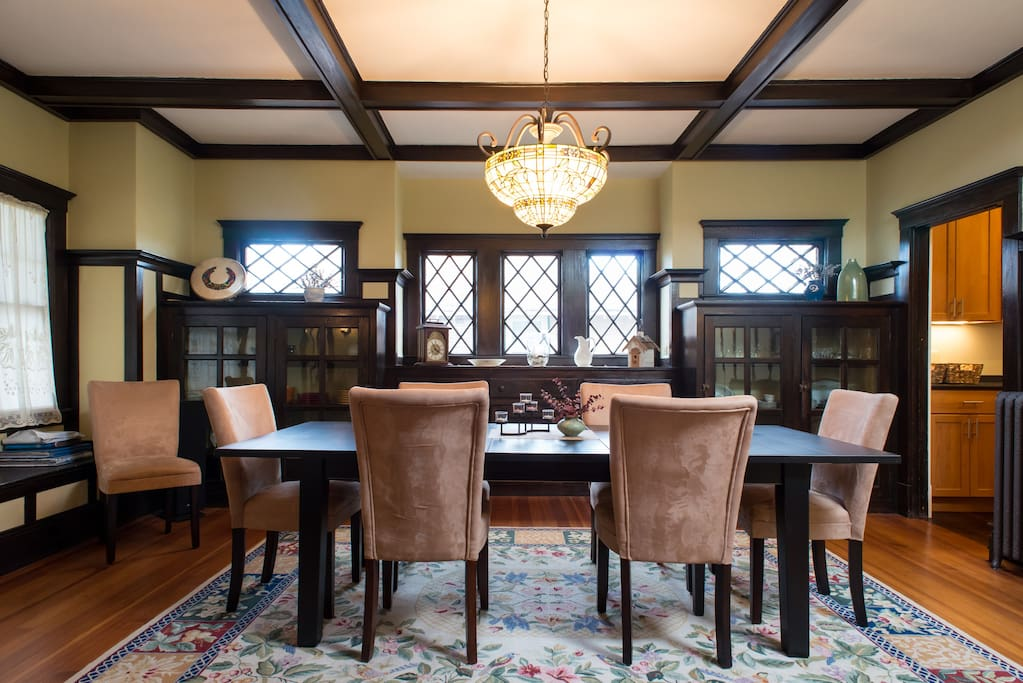 Enjoy a meal or play a board game in the dining room.