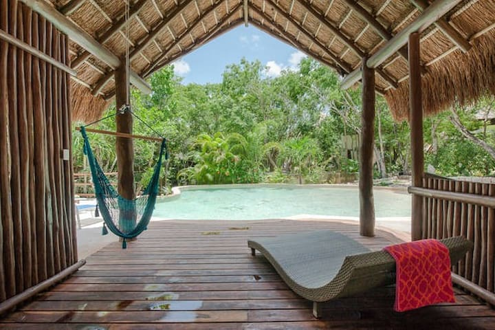 The palapa of the pool