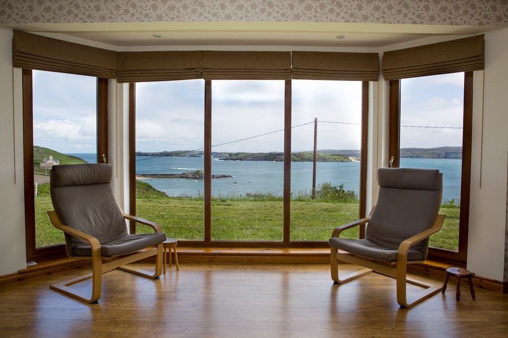 Bay window in the lounge with excellent views across Talmine Bay