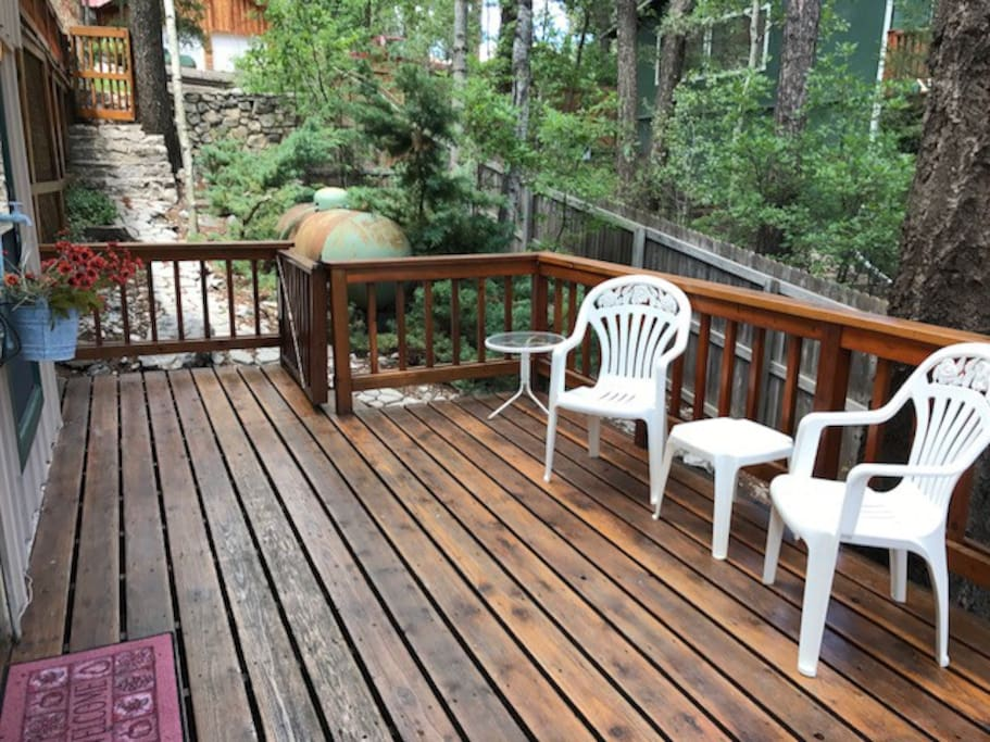Enjoy your morning cup of coffee on your private deck.  Propane grill also available.