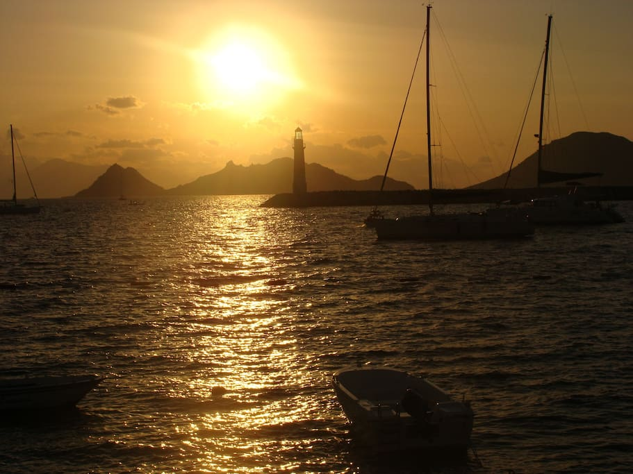 sunset from the pier in Turgutreis