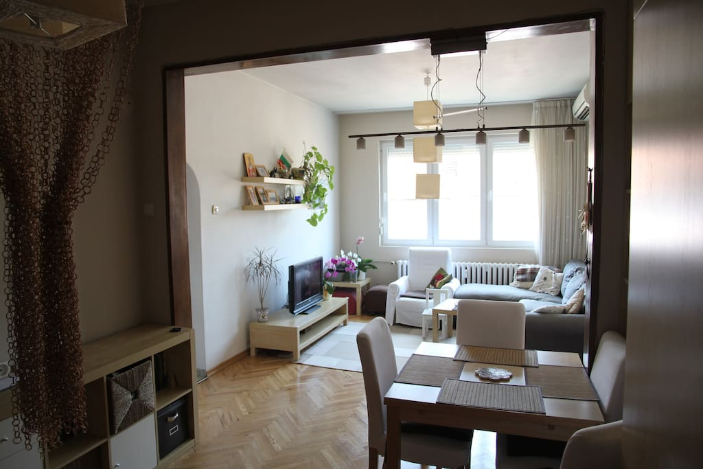 Living room and dining space