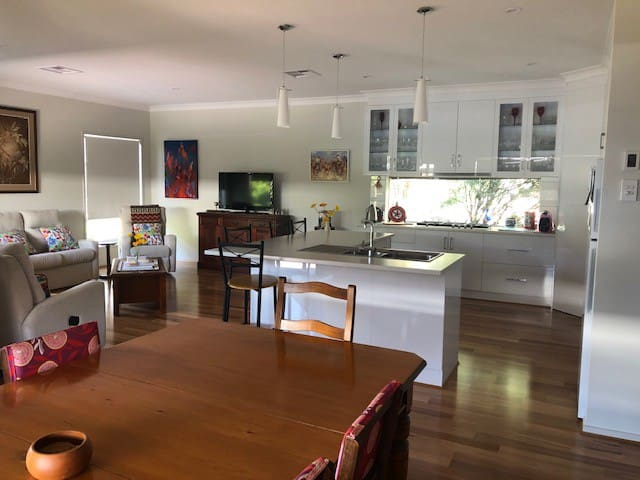 Open spaced lounge, kitchen and dining