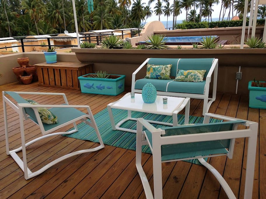 Your outdoor living room on the private roof deck. The best of Caribbean living!