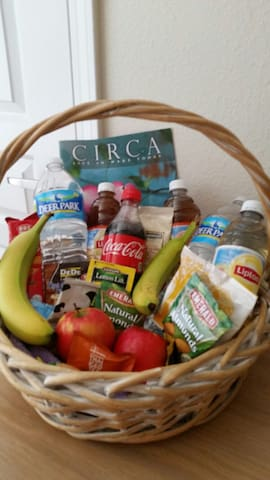 Snack  basket in your room along with sightseeing info.